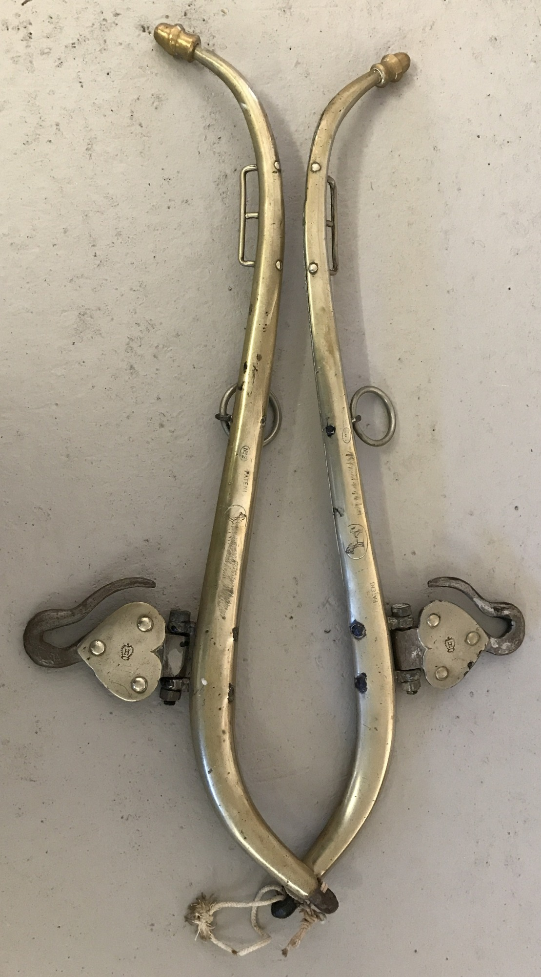 A pair of vintage brass hames.