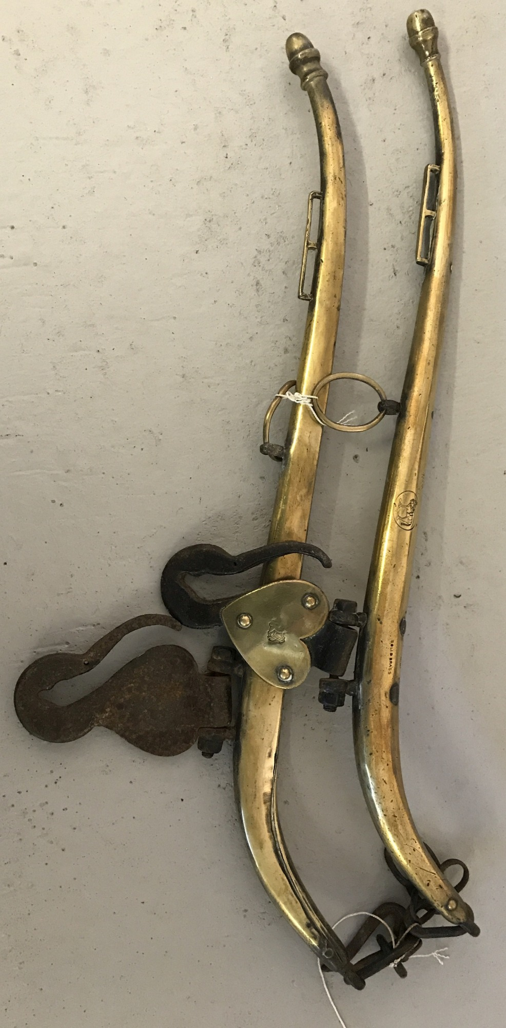 Lot 117 - A pair of vintage brass hames.