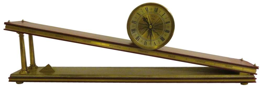 Lot 304 - Dent inclined plane mantle clock, sometimes referred to as a Rolling Drum clock