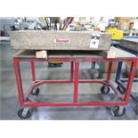 """Starrett Crystal Pink 24"""" x 36"""" x 6"""" Granite Surface Plate w/ Cart (SOLD AS-IS - NO WARRANTY)"""