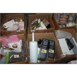 Lot to Contain 6 Boxes of Assorted Items to Include Sleep Trainers Blush Scent Diffusers Brass