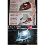 Lot to Contain 4 Assorted Boxed Russell Hobbs & Morphy Richards Steam Irons RRP £200 (Untested