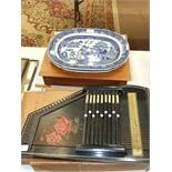 A pair of blue and white willow pattern meat plates, 39 x 31cm and an auto harp, (3).