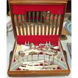 A canteen of plated cutlery contained in a fitted box.