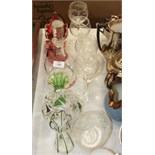 A cranberry glass jug with clear handle, 9cm high, wine and drinking glasses and other glassware.