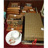A set of postal scales and weights various framed relics including prehistoric shark teeth,