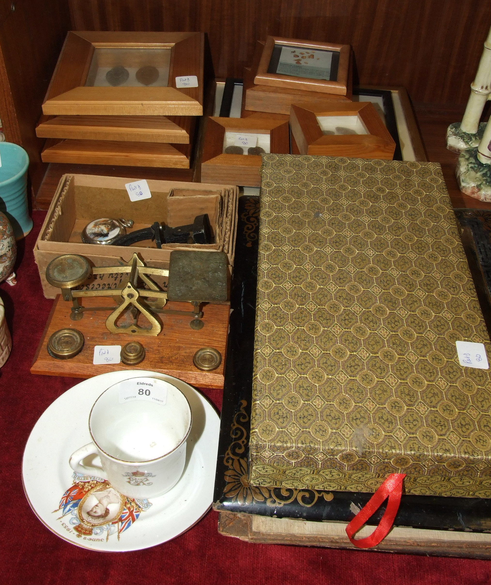 Lot 80 - A set of postal scales and weights various framed relics including prehistoric shark teeth,