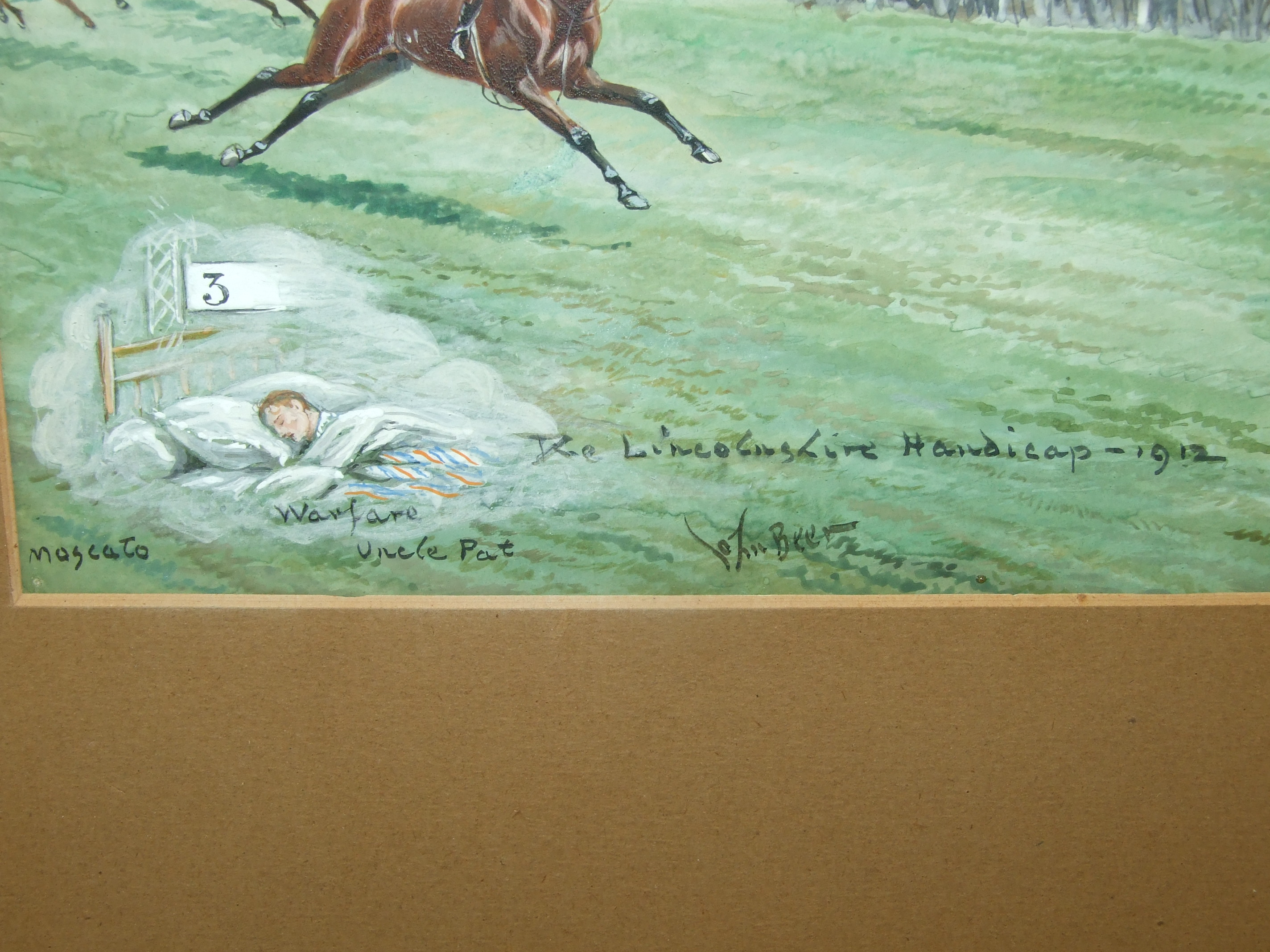 Lot 62 - John Beer (1883-1915), 'The Lincolnshire Handicap 1912', signed watercolour, inscribed with