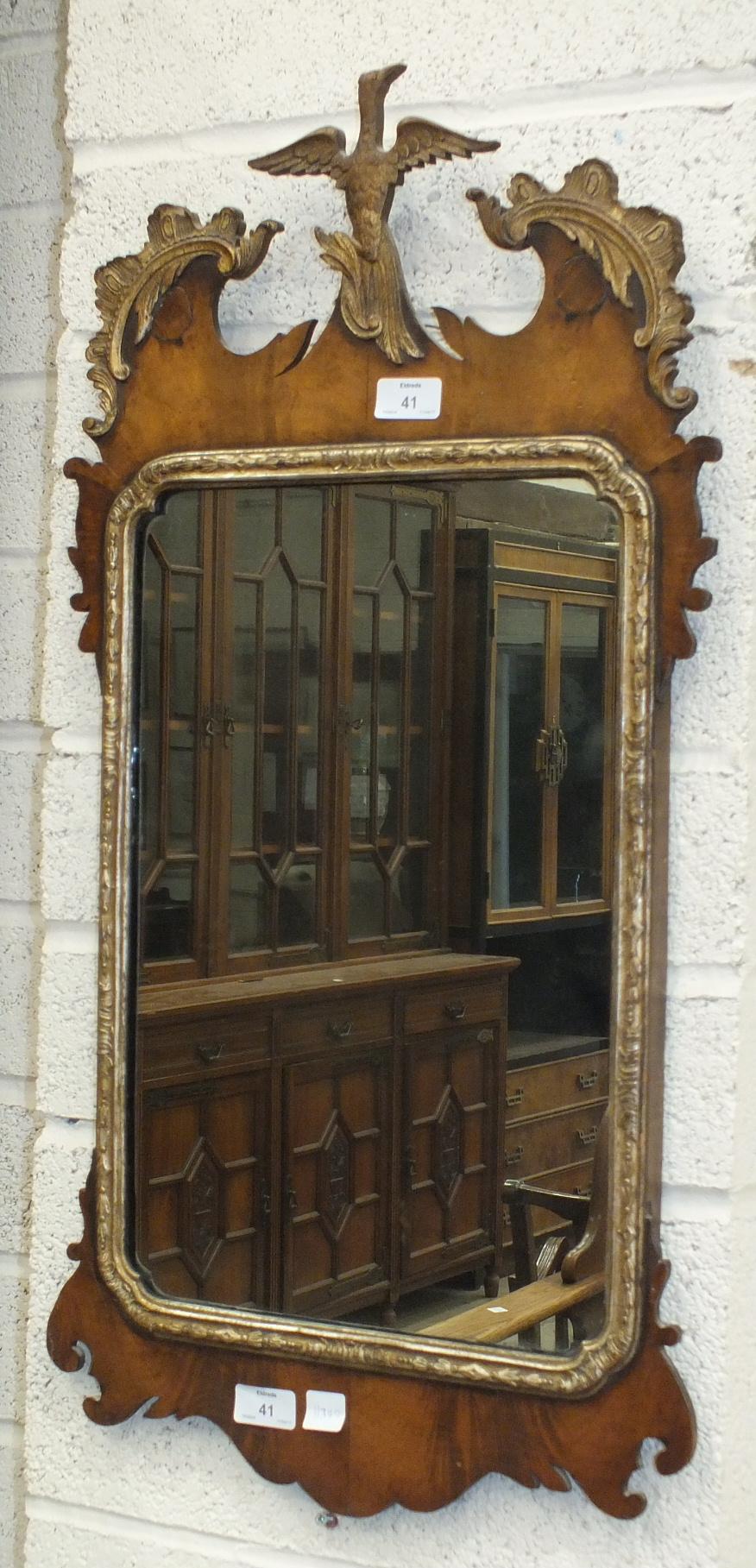 A Georgian style parcel gilt wall mirror, 80 x 40cm.
