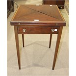 An Edwardian inlaid banded mahogany envelope card table fitted with single frieze drawer, on