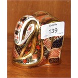 """A Royal Crown Derby paperweight, """"Imari Snake"""", gold stopper, 8cm high, boxed."""