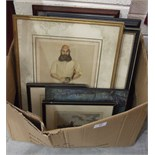 After Archibald Stuart-Wortley W G Grace, a monochrome print, 30.5 x 24cm and other paintings.
