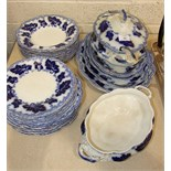 "Thirty-five pieces of Johnson Bros ""Normandy"" blue and white dinnerware, including a soup tureen and"