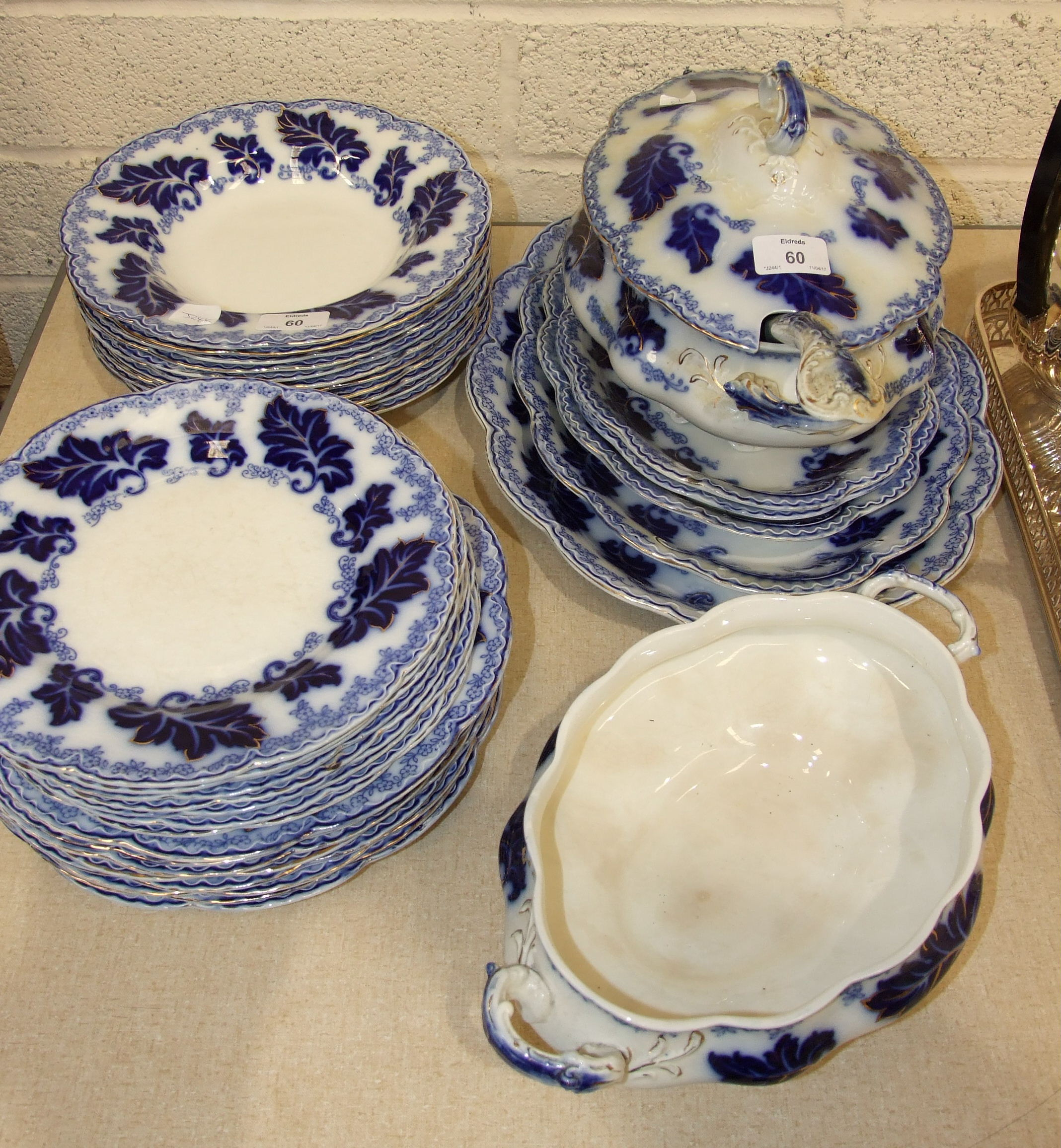 """Lot 60 - Thirty-five pieces of Johnson Bros """"Normandy"""" blue and white dinnerware, including a soup tureen and"""