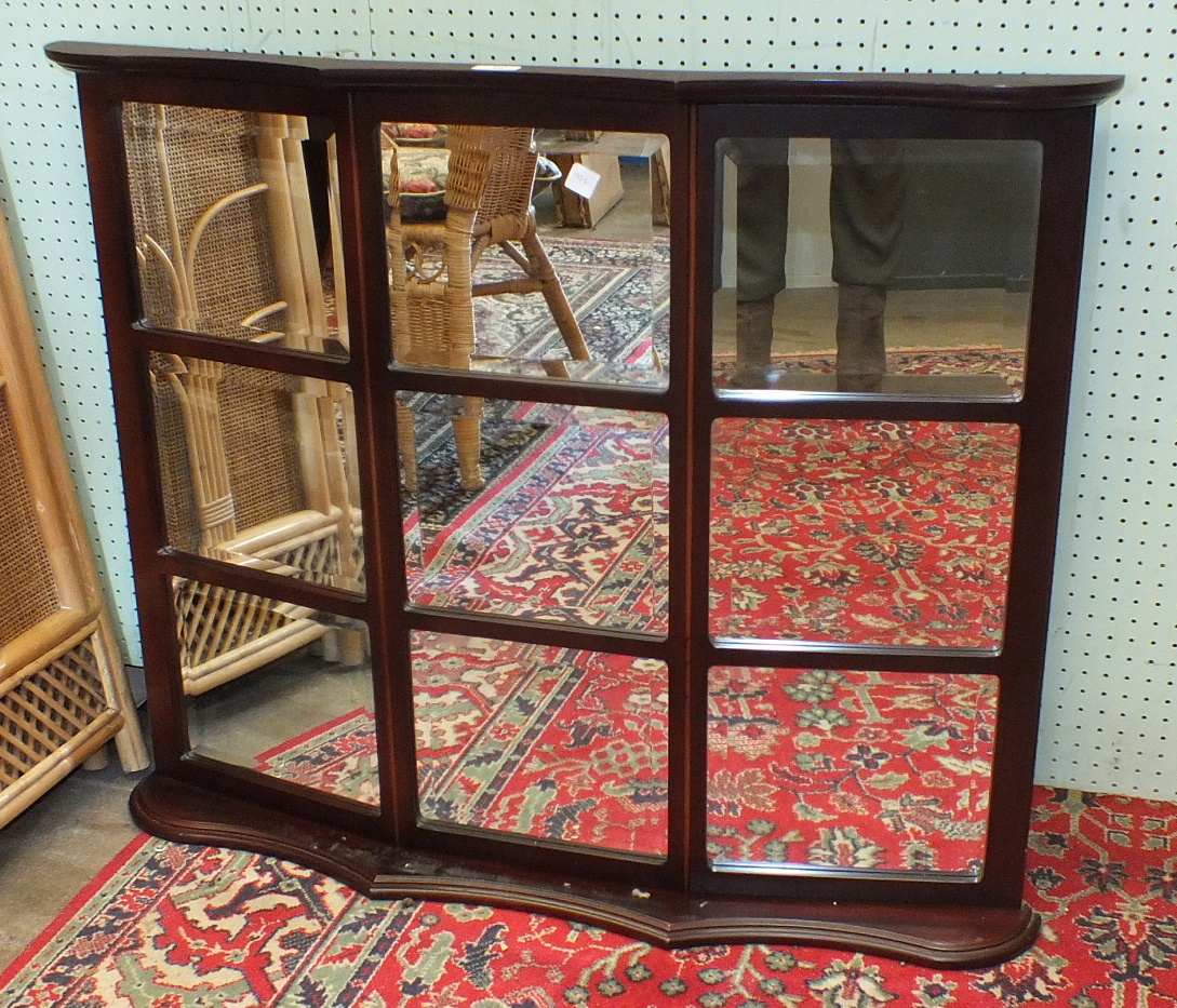 Lot 10 - Two modern rattan-framed three-fold draught screens, one other and a modern mirror.