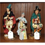 """Three Royal Doulton figures, """"The Mask Seller"""" HN2103, 22cm, """"The Pied Piper"""" HN2102, 22.5cm, and """"A"""