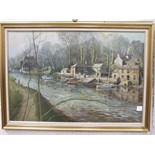 •R Slater, 'River scene with boats, boat shed and other buildings', signed oil on canvas, 60 x