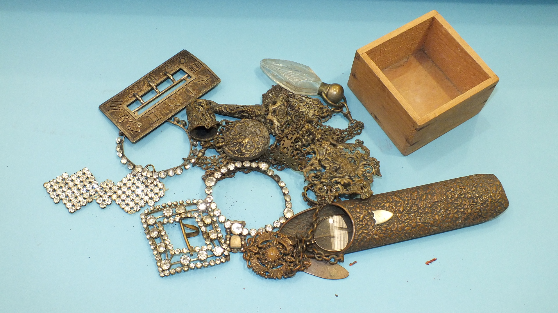 Lot 259 - A plated metal chatelaine, a paste buckle and other items.