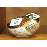 """A Royal Crown Derby paperweight, """"Dappled Quail"""", gold stopper, 6.5cm high, boxed."""