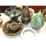 A collection of glazed pottery objects, all marked ME, including a table water feature and two domed