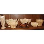 A collection of six SylvaC beige glaze vases and bowls, no.s 2484, 2456 (af), 2031 (af), 2482, 2100,