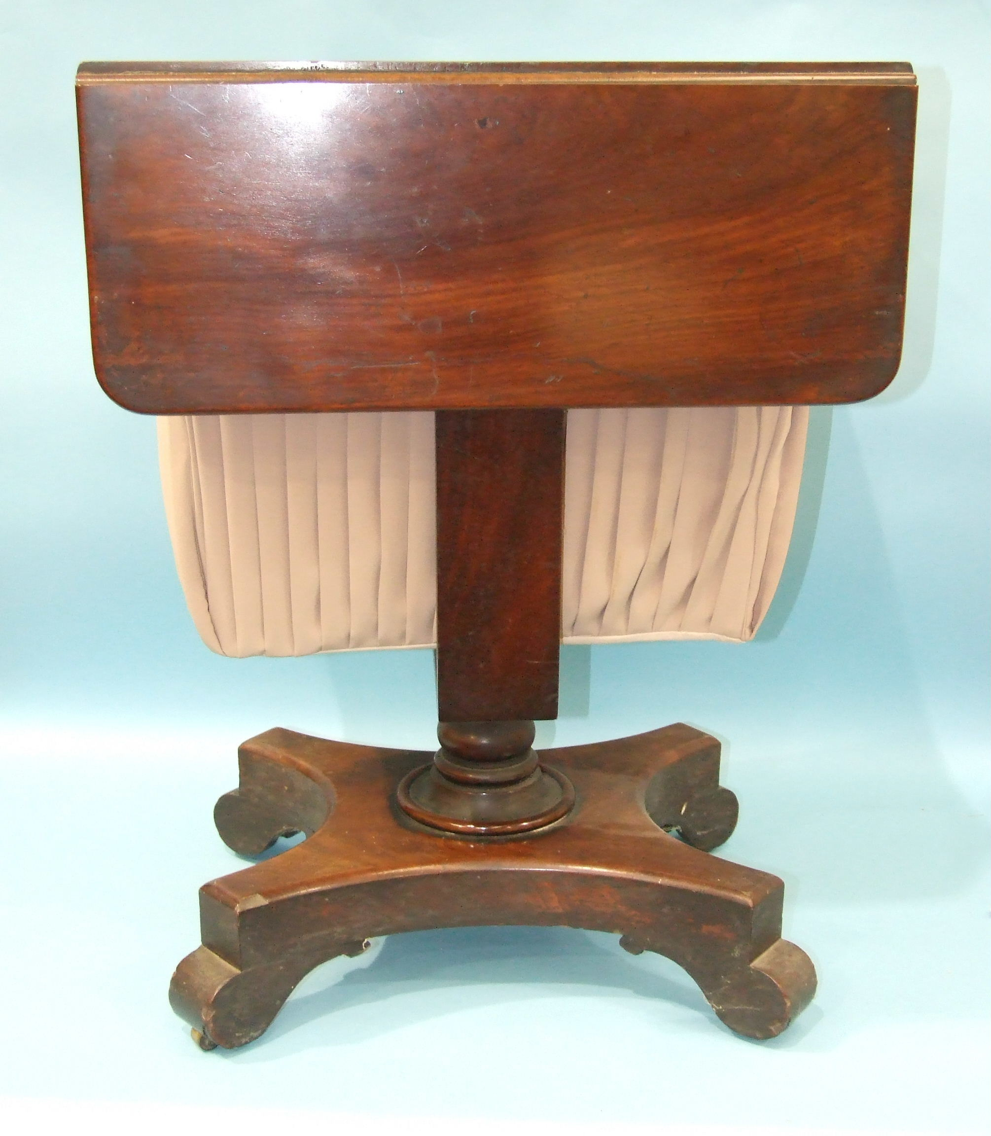 A William IV mahogany work table, the rectangular top with two drop leaves above a pair of drawers - Image 2 of 3