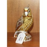 """A Royal Crown Derby paperweight, """"Citron Cockatoo"""", gold stopper 13.5 cm high, boxed."""