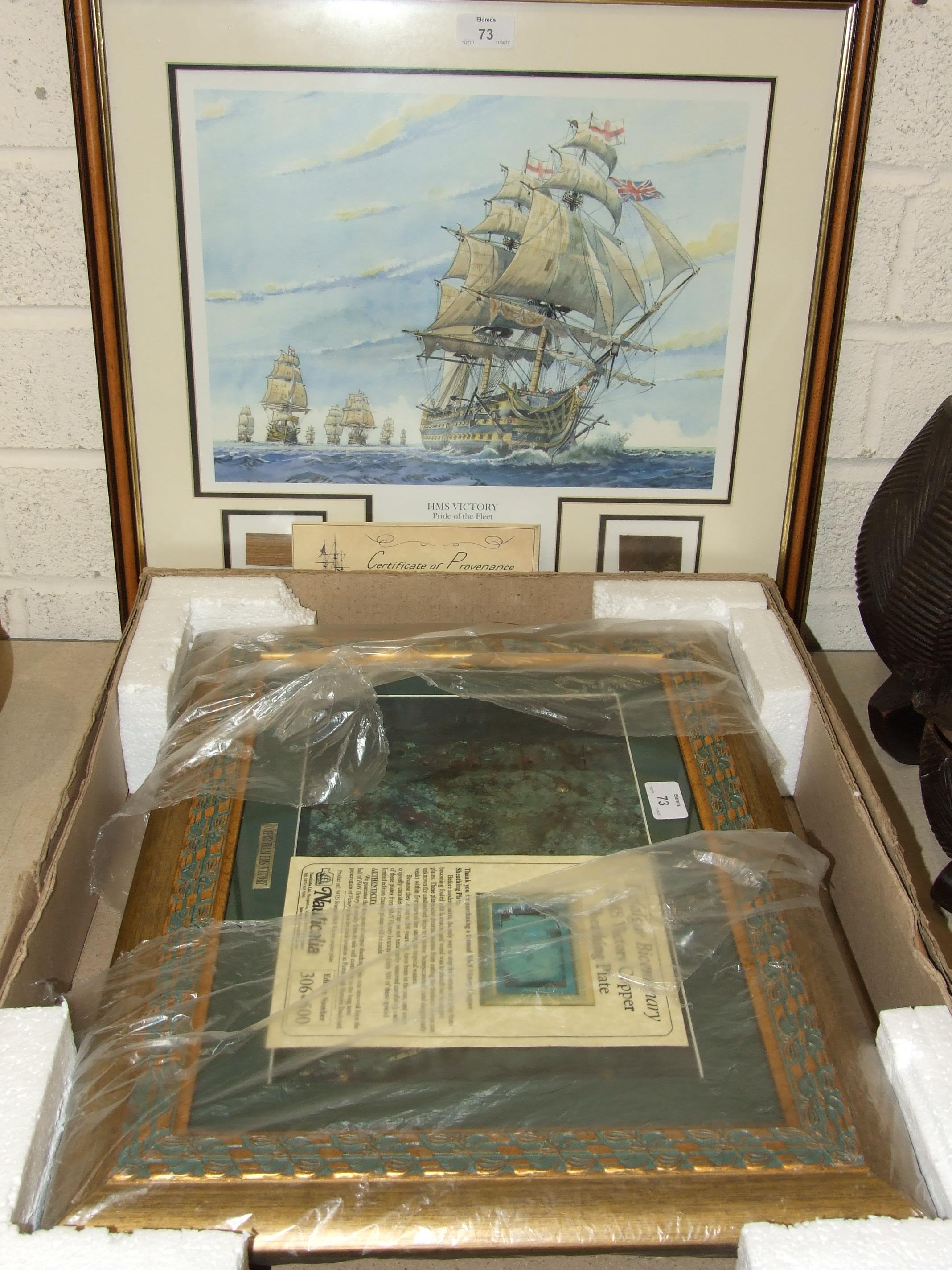 A Nauticalia presentation case containing a copper sheathing plated from HMS Victory, edn no.306/