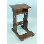 A 19th century oak prayer lectern with folding kneeling stool, stamped 'S Pauling', 41cm wide,