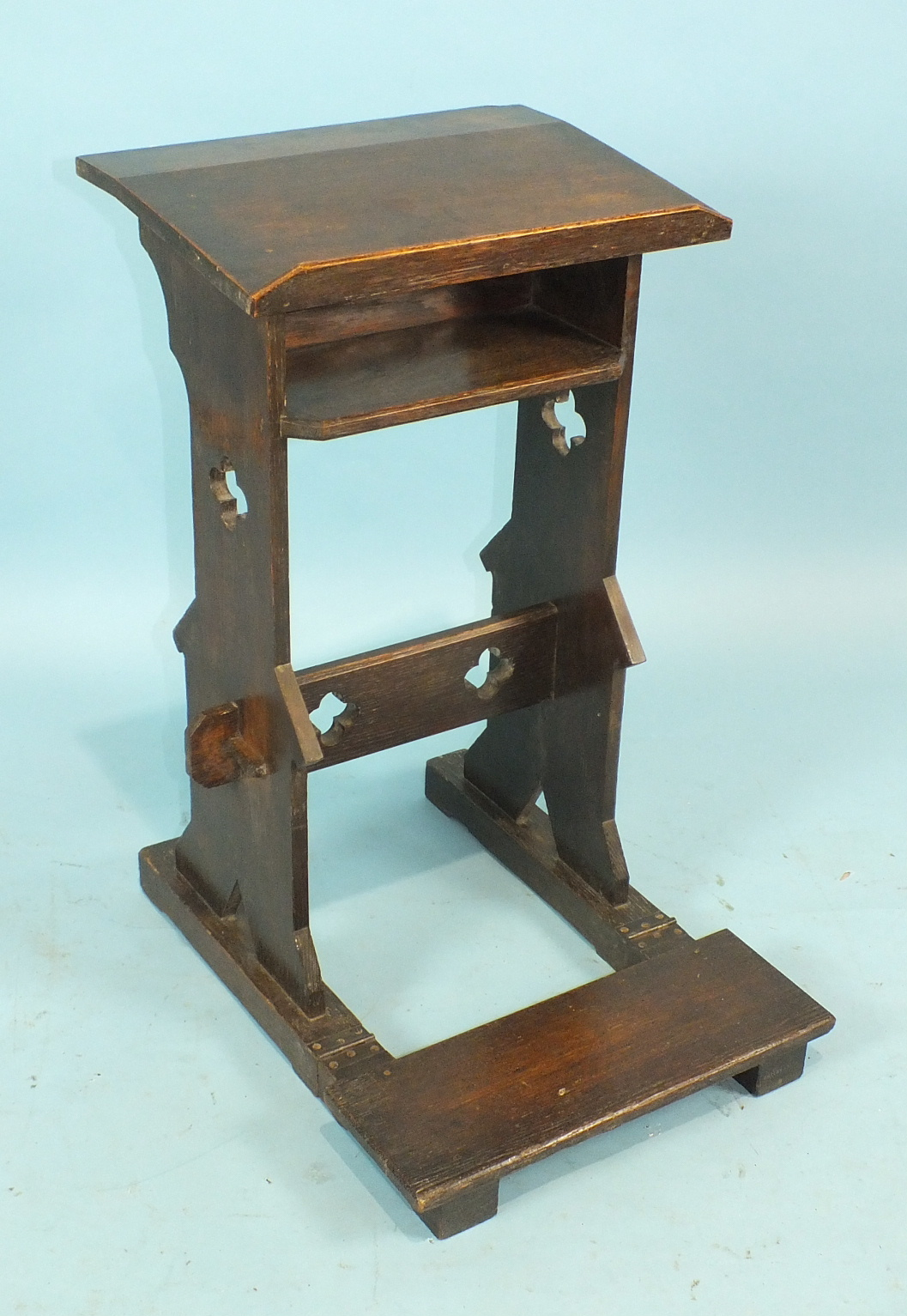 Lot 43 - A 19th century oak prayer lectern with folding kneeling stool, stamped 'S Pauling', 41cm wide,
