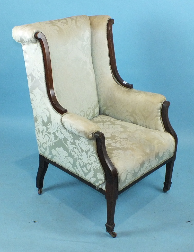 An Edwardian inlaid mahogany armchair, the upholstered high wing back and seat on square tapered - Image 2 of 2