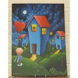 S Bateman, 'A figure and houses under a night sky', signed oil on art board, 59 x 42cm.