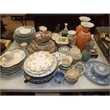 Three ceramic and tin hot water plates, a collection of part tea and dinner services and other