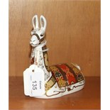 """A Royal Crown Derby paperweight, """"Llama"""", gold stopper, 13cm high, boxed."""
