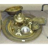 Three brass Benares trays, (no stands), a brass bed warmer, brass chestnut roasters, a spirit kettle