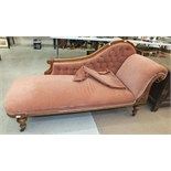 A Victorian mahogany button-back single end chaise longue on turned legs, 190cm.