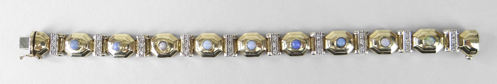 14K YELLOW GOLD LADIES BRACELET OF ALTERNATING OCTAGONAL OPAL MOUNTED TABLETS and tiny diamond set