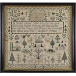 GEORGE IV NEEDLEWORK SAMPLER decorated with house, trees, birds, animals around central biblical
