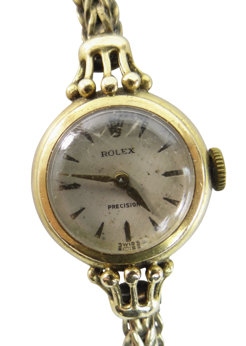 18CT YELLOW GOLD LADIES ROLEX PRECISION WRISTWATCH, the inside cover marked 'R. W. Co Ltd' and