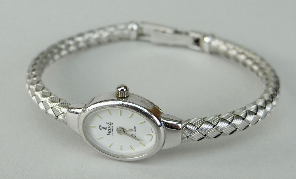 14K WHITE GOLD LADIES VICENCE WRISTWATCH HAVING OVAL DIAL and integrated 14k white gold bracelet. - Image 3 of 5