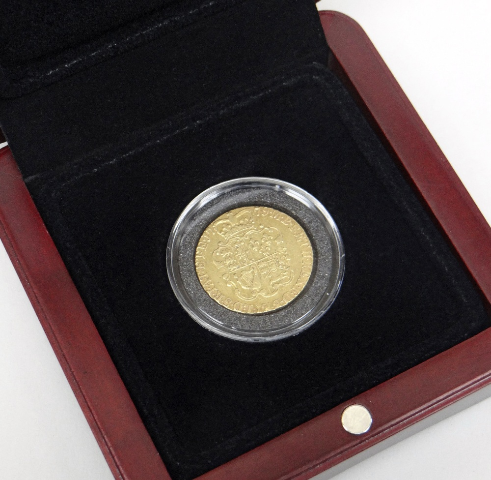 GEORGE III GOLD 'ROSE' GUINEA DATED 1779 IN PRESENTATION BOX Condition Report: In good overall