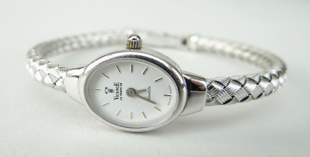 14K WHITE GOLD LADIES VICENCE WRISTWATCH HAVING OVAL DIAL and integrated 14k white gold bracelet. - Image 2 of 5
