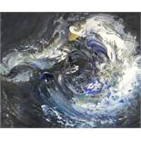 MAGGI HAMBLING (B.1945) oil on canvas - dark waves and moon, 25 x 30cms, in bespoke box frame
