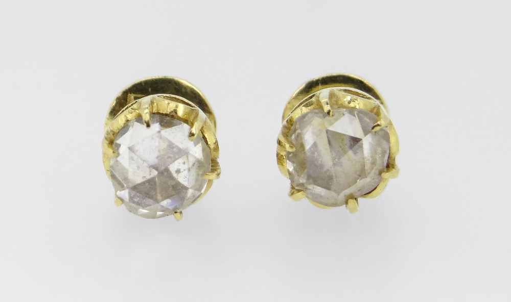 PAIR OF YELLOW METAL ROSE CUT DIAMOND STUD EARRINGS approx. 1.0ct overall, 2.8grams overall