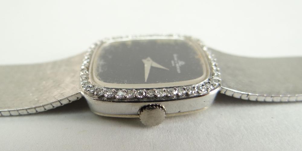 18CT WHITE GOLD (750) BAUME & MERCIER WRISTWATCH having diamond set bezel and integrated strap, 47.4 - Image 3 of 4