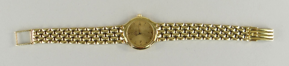 OMEGA 18CT (750) GOLD LADIES WRISTWATCH WITH 'BRICKWORK' BRACELET. 40.6 grams Condition Report: - Image 2 of 6