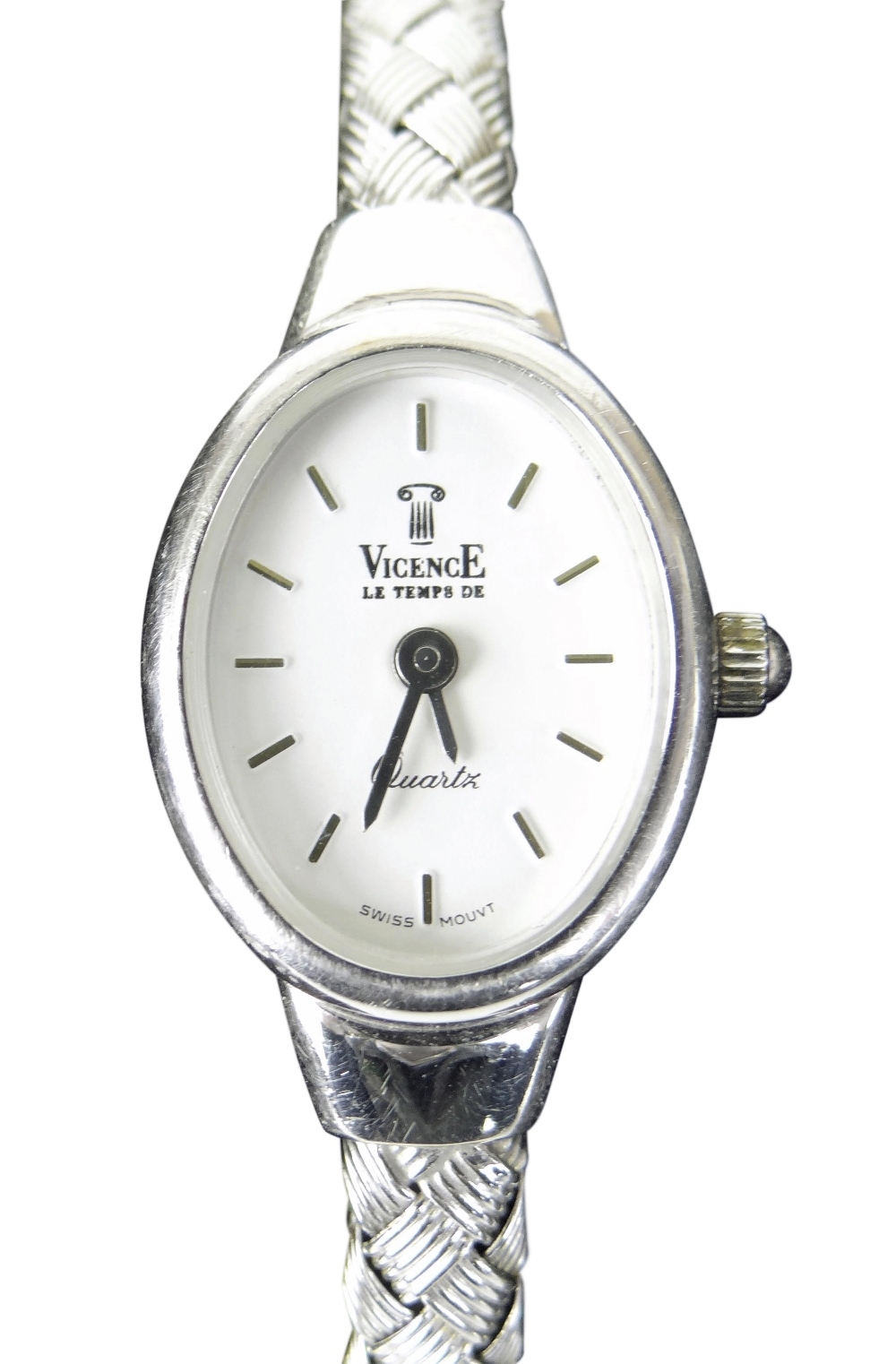 14K WHITE GOLD LADIES VICENCE WRISTWATCH HAVING OVAL DIAL and integrated 14k white gold bracelet.