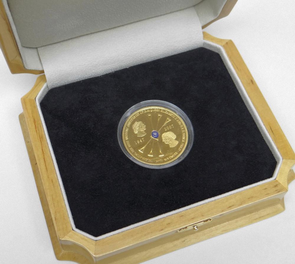 18CT YELLOW GOLD TRISTAN DA CUNHA DIAMOND WEDDING FIVE POUND COIN celebrating the wedding