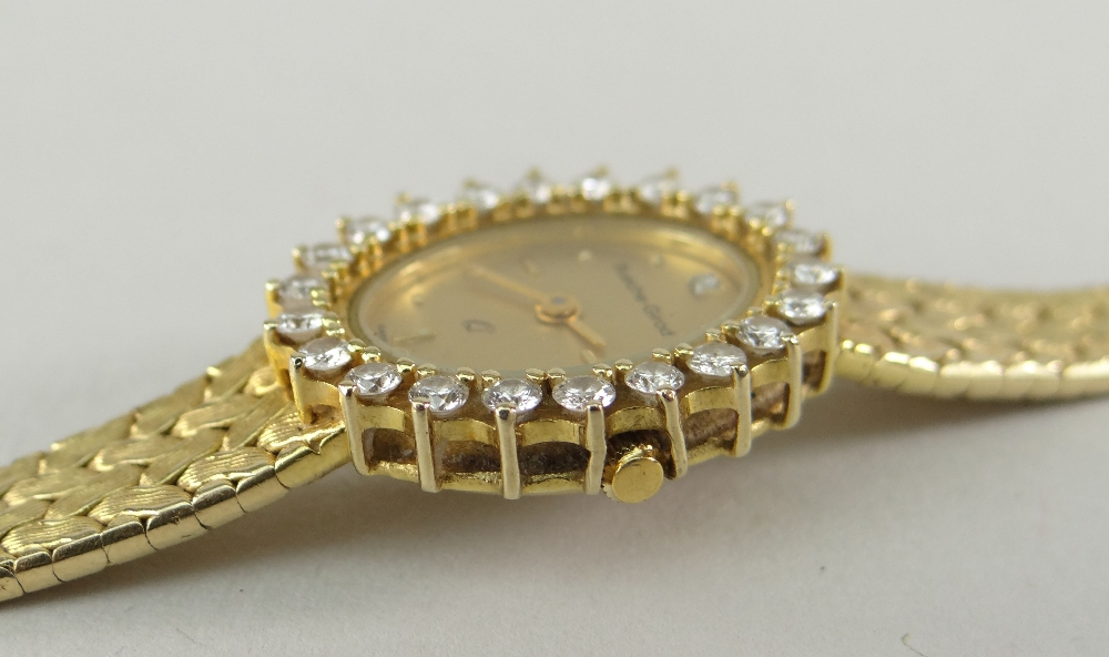 9CT YELLOW GOLD LADIES BUECHE-GIROD COCKTAIL WATCH, the oval dial surrounded by twenty-two - Image 3 of 4
