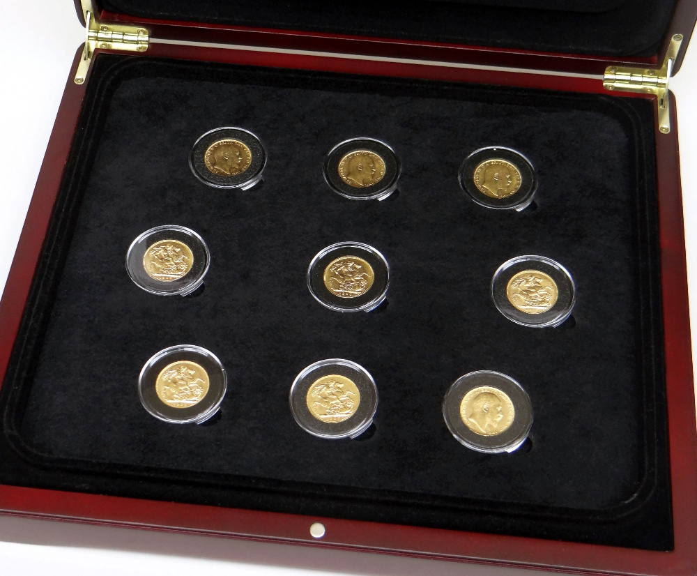 KING EDWARD VII FULL REIGN GOLD SOVEREIGN SET comprising nine gold sovereigns one from each year